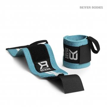 Better Bodies Elastic Wrist Wraps Aqua Blue-white