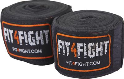 Fit4fight-Håndbind Bomuld 4,5 meter Sort