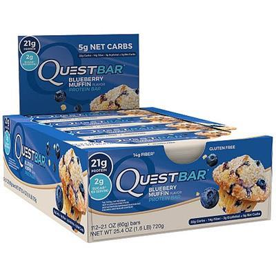N/A Quest protein bar 12 stk. blueberry muffin fra fit4fight